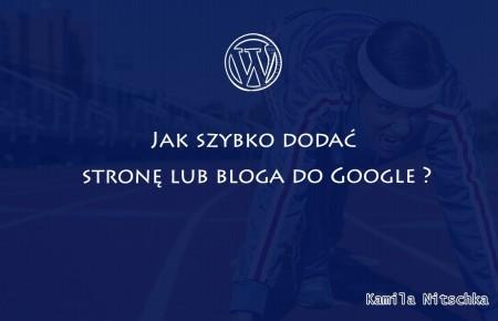 Jak szybko dodać stronę lub bloga do Google ?