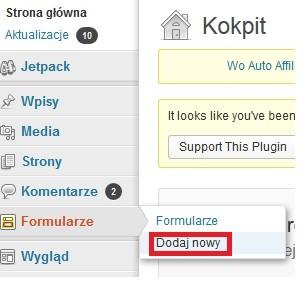 Formularz kontaktowy na blog WordPress