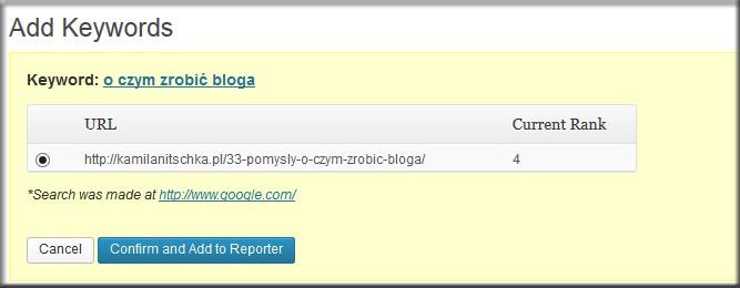 SEO Rank Reporter wtyczka do WordPress - monitorowanie słów kluczowych