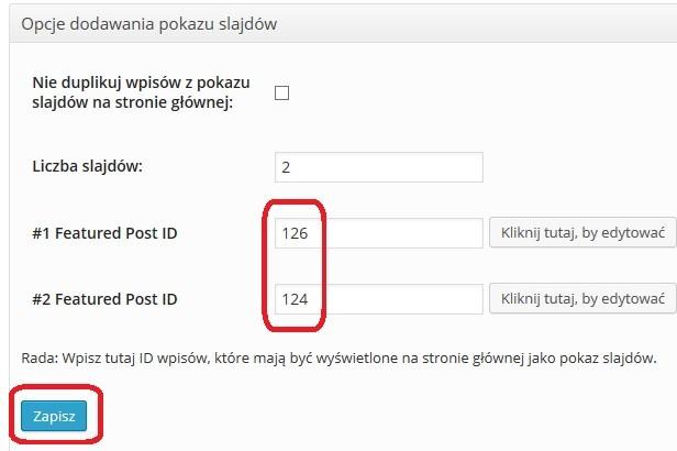 Darmowy szablon WordPress Simple Catch - ustawiamy slider